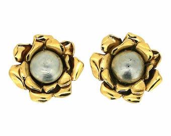 Yves Saint Laurent 1980s Faux Pearl Vintage Flower Earrings