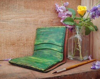 Handmade painted leather wallet