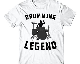 Drumming Legend Cool Drummer Silhouette Music T-Shirt