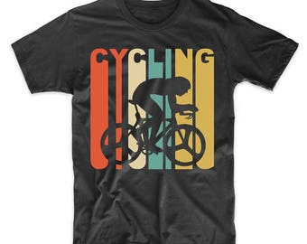 Vintage Retro 1970's Style Cyclist Silhouette Cycling T-Shirt