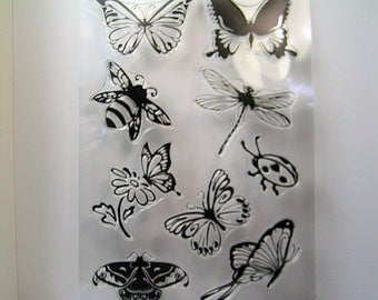 My Favorite Insect Clear Stamp Set, Butterflies, Lady Bug, Dragonfly, and Bee Stamps