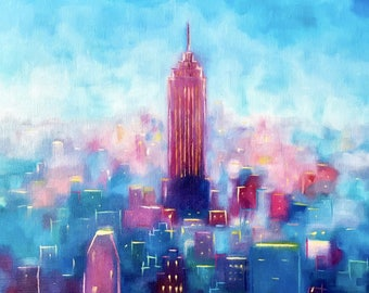 "Original New York skyline abstract painting 20""x20"""