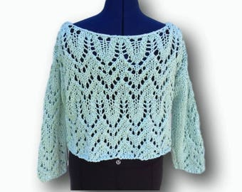 Hand knit lace crop top
