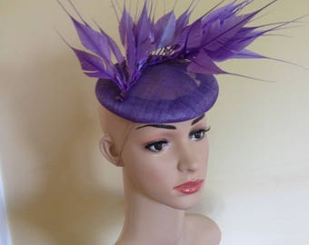 Purple Fascinator,Purple Hat,Purple Ascot Hat, Purple Wedding Hat,Purple Occasion Hat,Purple Pillbox Hat,Wedding Hat, Ascot  Hat