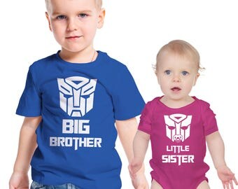 Transformers  inspired Big Brother and Little Sister t-shirt and baby grow set.