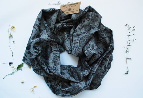 Peony Black/Grey Block Printed Infinity Scarf // Chambray // Floral Pattern Scarf