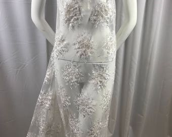 Lace Fabric - White Gaviota Design Embroider Beaded Mesh Dress Wedding Decoration Bridal Veil Nightgown By The Yard