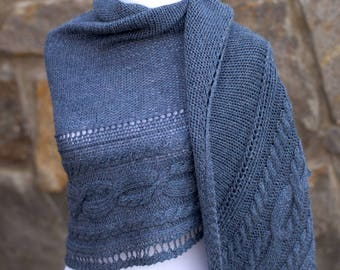 Fallen through time shawl, Outlander inspired blanket scarf, Outlander wrap, Claire's shawl, blue hand knit wrap, alpaca/wool blend
