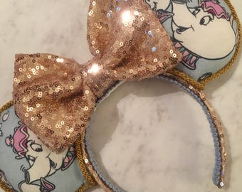 Chip and Mrs potts Disney inspired Mouse Ears