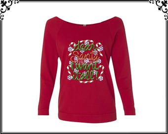 Dear Santa I Want It All! T-shirt Christmas Shirt Merry Christmas T-shirt Christmas Tees Womens Off Shoulder Three Quarter Sleeves T- shirt