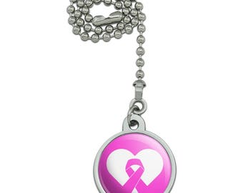 Breast Cancer Awareness Pink Ribbon in Heart Ceiling Fan and Light Pull Chain
