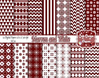 "Digital paper ""MARRON AND WHITE"", marron paper triangles, chevron marron, marron stars,  marron circle, marron and white patterns, marron"