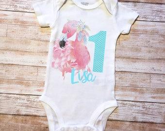 flamingo onesie, flamingo birthday, flamingo bodysuit, 1st birthday onesie, girls first birthday, flamingo, first birthday, onesie