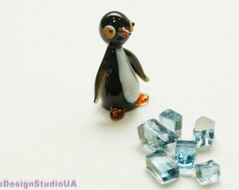 Glass figurine Penguin glass animals gift for him gift for her miniature blown glass Penguin figurines glass figurines home decor Lampwork