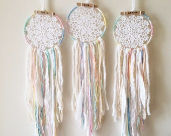 Boho Gift, Flower Girl Gifts, Personalised DREAM CATCHER, Bridesmaids, Girls Room, Pastel, Wall Hanging, Bridesmaid Gift, Tribal,