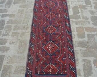 Big sale 9 x 2 FT Floral Design Hallway wool Handmade runner, Afghan Carpet runner, Baluch rug