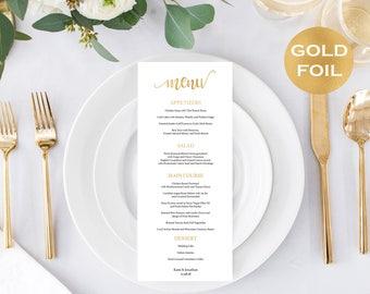 Menu cards wedding - Gold Foil Wedding Menu Card  - DIY  Menu Card - Gold Wedding Program - Downloadable wedding  #WDH0G0123