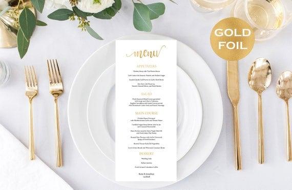 Gold Foil Wedding Menu Card