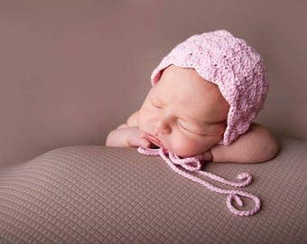 MADE TO ORDER - Crochet Shell Bonnet Cotton yarn