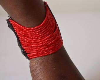African Maasai beaded bracelet  | Red cuff bracelet | African jewelry | Tribal bracelet | Press button fastening | Gift for HimGift for Her