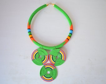 African Maasai Beaded Necklace | African Jewelry | Zulu Beaded Necklace | Green Neckpiece | Tribal Necklace | Gift for Her | One Piece