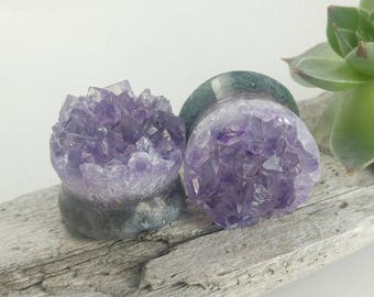 "Raw Amethyst 3/4"" plugs, amethyst plugs, 19mm druzy plugs, raw amethyst stone plugs, 19mm natural amethyst plugs, raw amethyst druzy plugs"
