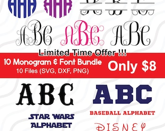 Fonts Bundle SVG, Bundle svg, Circle Monogram SVG, Monogram alphabet, SVG Fonts, Cricut Fonts Cut table Design,svg,dxf,png Instant Download