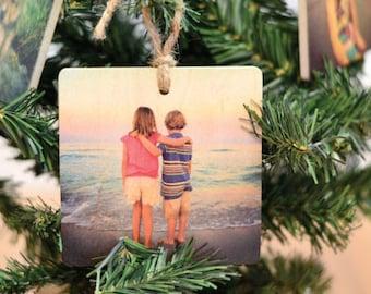 Christmas wood ornament/ custom wood Christmas gift/ Photo On Wood, Custom Photo On Wood, Photos On Wood, Wood Photo Print,
