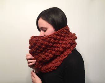 ON SALE, Women's Thick Knit Scarf, Textured Wool Knit Scarf