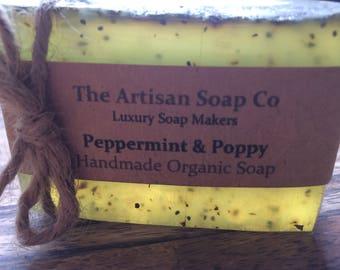 Handmade PEPPERMINT & POPPY Artisan Soap, Natural, Organic Essential Oils, Vegan