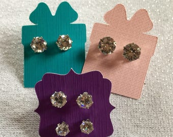 Medium Earrings | Earring Pair | CZ Jewelry | CZ Earrings | CZ Studs | Fake Diamond Studs | Studs | Cubic Zirconia Earrings | Clear Earrings
