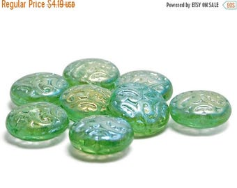 CLEARANCE Czech Glass Beads - Button Beads - 13mm - Coin Beads - Brocade Coin - Lime Green - Paisley Beads - Czech Beads - 8pcs (3611)