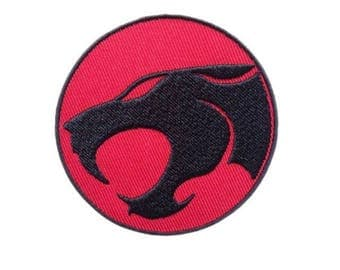 "Comic Black Cat Iron on Embroidered patch (2.5"")"