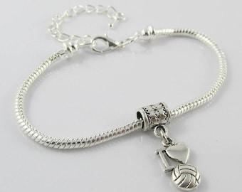 Netball I Love Netball Charm Bracelet Snake Chain Available in 16, 18 or 20cm