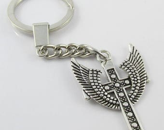 Angel Wing Cross Charm Keychain Keyring 109mm