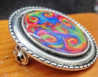 Rainbow Swirls pin/brooch Handmade Design