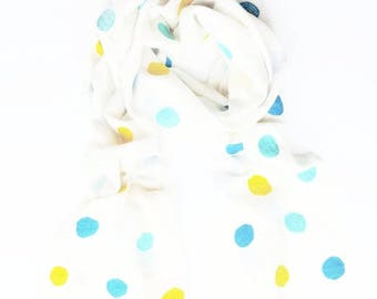 Khadi Cotton Scarf in Cream - Blue/Turquoise/Yellow Polka Dots