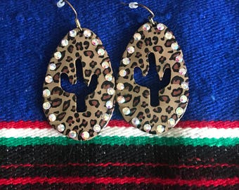 Cheetah print cactus earrings