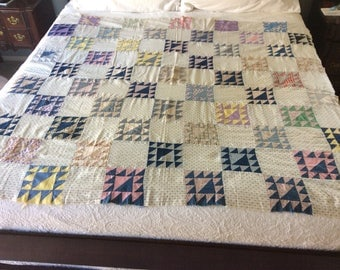 Antique basket pattern quilt top made with shirting and other old fabrics.  Early 1900's quilt top!  Love! This top.