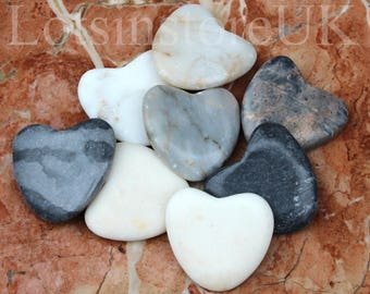 Heart shaped stones pebbles decorative stones home decor set of 8 romantic gift