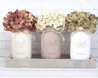 Mason Jar Centerpeice- Fall Centerpiece- Rustic Fall Decor- Rustic Home Decor- Painted Mason Jars-Housewarming Gift- Fall Home Decor