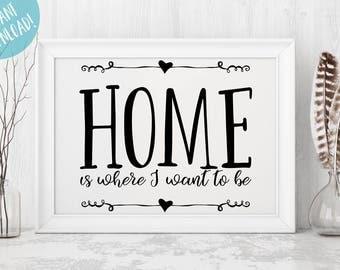 Home Printable Art - New House Gift - Rustic Home Decor - Housewarming Gift - Art Print - Wall Decor - Wall Art - Wedding Gift Gift For Her