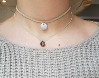 Choker-stamp with long sterling gemstone-pearl