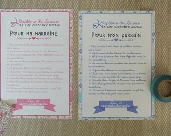 2 Grandes cartes Les 10 commandements de la marraine et du parrain - theme Liberty rose et bleu
