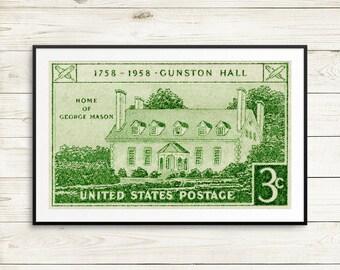 Fine art prints: US postage, US history, vintage wall art, antique posters, fine art prints, fine art etching, etching prints, Gunston Hall
