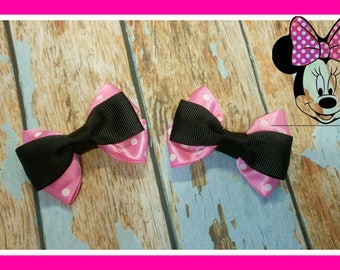 Minnie mouse inspired hair clips for girls.