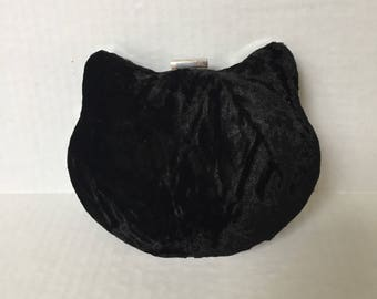 Black Cat Clutch, Cat Minaudiere, Cat Clamshell Clutch, Cat Evening Bag, Cat Purse, Black Velvet Purse, Cat Shaped Purse