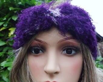 Headband made of alpaca wool in grey-lilac