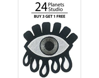 Grey Lucky Eye Iron on Patch by 24PlanetsStudio