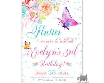 Girls Butterfly Birthday Invites, Butterfly Invitations for 1st birthday or any age, Butterfly Birthday Party Theme, Watercolor Butterflies